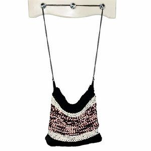 Large Handmade Woven Knit Hobo Bag w/ Chain Link
